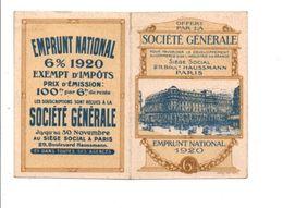 CALENDRIER DE POCHE 1920 SOCIETE GENERALE PARIS - Petit Format : 1901-20
