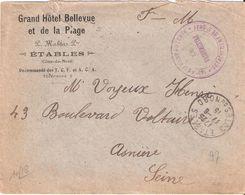 Cotes Du Nord :- ETABLES 155° REGIMENT D'ARTILLERIE DETACHEMENT DE ST QUAY Sur Enveloppe GRAND HOTEL BELLEVUE - Marcophilie (Lettres)