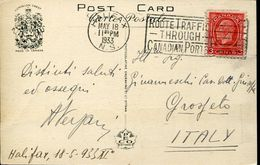 36624 Canada, Circuled Card 1933 From Halifax To Italy Route Traffic Through Canadian Ports - Cartas