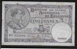 Belgique - 5 Francs  - 2-4-1938 - Pick N°108 - TB - [ 2] 1831-... : Royaume De Belgique