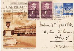 France, Entier Carte Lettre Armoiries 65c 1938  Et Complément Pour La Belgique (paire Gambetta ) TB - Entiers Postaux
