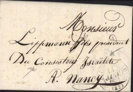 Lettre Pour Président Consistoire Israélite Nancy Judaica Chateauneuf 13 Janvier 1830 Juive Juive Commanauté Trentaine - 1801-1848: Precursors XIX