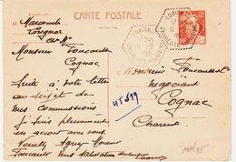 France, De Lorignac , Agence Postale De Charente Maritime En 1953 Sur 12 F Gandon   TB - Entiers Postaux
