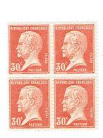 173 Pasteur 30 C. Rouge Bloc De 4 Luxe - France