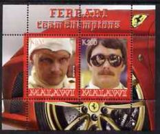 Malawi 2008 M/S Cinderella Issue Stamps Ferrari Team F1 Champions Lauda Mansell Famous People Sports Car (1) MNH Perf - Malawi (1964-...)