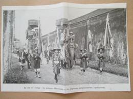 (1933) HUE Indochine - Fête Du NAM GIAO Elephants Et Porte Etandards  - Coupure De Presse Originale (Encart Photo) - Documents Historiques