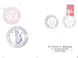 Finistère :- LANVEOC POULMIC MARINE + Cachet LA GRANDE HERMINE ECOLE NAVALE - Postmark Collection (Covers)