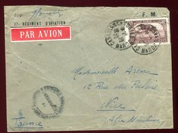 Maroc - Enveloppe Par Avion En FM De Casablanca Pour Nice En 1929 - Marokko (1891-1956)