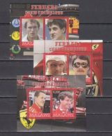 Malawi 2008 - 3 M/S Cinderella Issue Stamps Ferrari Team F1 Champions Formula 1 Famous People Sports Car Sporters MNH - Famous People
