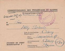 France Lettre Prisonnier De Guerre Dépôt St Etienne Pour L'Allemagne 1947 - Guerra Del 1939-45
