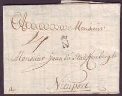 LOIRE INFERIEURE - LAC - NANTES - N (couronné) L2 (1725) + Taxe 14 Pour Nieuport (Pays Bas, Belgique) - Marcophilie (Lettres)