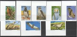 U129 !!! IMPERFORATE GAMBIA FLORA & FAUNA BIRDS EAGLES 1SET MNH - Adler & Greifvögel