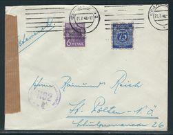 Auslandsbrief Mit MiNr. 37 I Und 67 II Von Hannover Nach St. Pölten Österreich, Zensurstempel - Amerikaanse-en Britse Zone