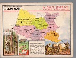 LION NOIR:carte Du SUD OUEST En Couleurs (PPP14251) - Old Paper