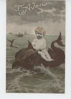 POISSON 1ER AVRIL - ENFANTS - BEBES - Jolie Carte Fantaisie Bébé Chevauchant Un Poison De 1er Avril - 1er Avril - Poisson D'avril