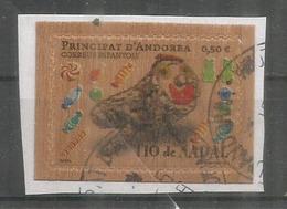 ANDORRA. Timbre En Bois.Tio De Nadal, (gateau Bûche De Noël) (Wood Paper Stamp) Oblitéré 1 ère Qualité - French Andorra