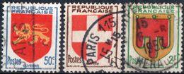 FRANCIA, FRANCE, STEMMI, COAT OF ARMS, 1949, FRANCOBOLLI USATI Michel 847-849,   Scott 617-619 - 1941-66 Wapenschilden