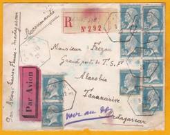 1929 Par Avion Lettre Recommandée De Cannes-E Vers Tananarive, Madagascar - Ligne France-Madagascar - Postmark Collection (Covers)