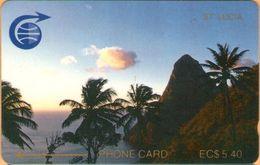 Saint Lucia - STL-2A, GPT, 2CSLA, Pitons (Old C&W Logo, Small Notch), 5.40 EC$, 1000ex, 1989, Mint? - Sainte Lucie