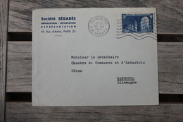 Enveloppe Affranchie N°842 Seul Sur Lettre Pour Hambourg Oblitération Paris 110 Rue De Rennes 1950 - Poststempel (Briefe)
