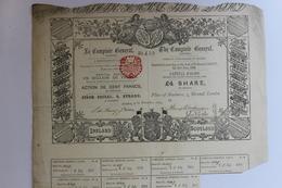 """Action 1879 De 100 Francs """"le Comptoir Général"""" - Bank & Versicherung"""