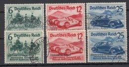 """Mi-Nr. 686/8, 695/7, """"Automobilausstellung"""" Und """"Nürburgring-Rennen"""", 1939, Je Kplt., O - Gebraucht"""