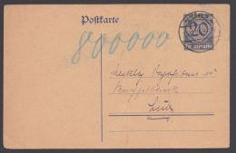 """Mi-Nr. DP2, Karte Ohne Zfr., Verwendet Als Quittung über 800.000 Mark, Poststempel """"Lübz"""", 13.10.23 - Deutschland"""