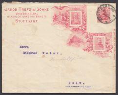 """Mi-Nr. PU 27 C 3/13, """"Friedrich I, Wilhelm II"""", Zudruck """"Trefz, Stuttgart"""", Bedarf, O - Deutschland"""