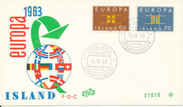 Iceland FDC 16-9-1963 EUROPA CEPT Complete Set Of 2 With Cachet - Europa-CEPT