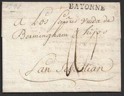 1798 LAC Bayonne Vers San Sebastian. Espagne - Marcophilie (Lettres)
