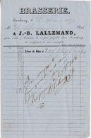 Petite Facture 1864 / Brasserie J.B. LALLEMAND / Livraison Litres De Bière / 70 Ronchamp - France