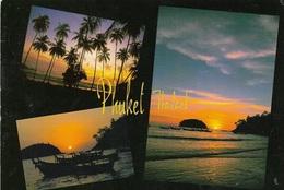 Asie - Thailande - PHUKET - 3 Vues De Coucher De Soleil - 1 Timbre Philatélique Au Verso, Voir Scan - Cpm - écrite - - Thailand