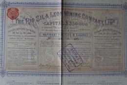 Action De 5 Livres Sterling 1862société Anonyme Des Mines Du Rio Sil Et Léon - Mines
