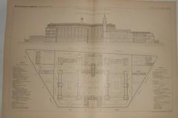 Plan De L'Hôpital Tenon à Paris. 1887. - Travaux Publics