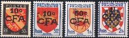 REUNION, COLONIA FRANCESE, FRENCH COLONY, STEMMI, STEMMI, COAT OF ARMS, 1949, NUOVI (MNH**) Scott 268,283,288,289 - Isola Di Rèunion (1852-1975)
