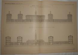 Plan De L'Hôpital Tenon à Paris. 1887. - Public Works
