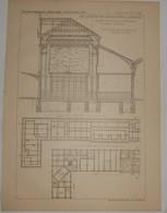 Plan De La Gare De Saint Etienne. Loire. Nouveau Bâtiment Des Voyageurs. M. J. Bouvard, Architecte. 1887. - Travaux Publics