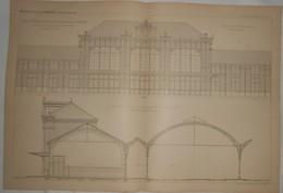 Plan De La Gare De Saint Etienne. Loire. Nouveau Bâtiment Des Voyageurs. M. J. Bouvard, Architecte. 1887. - Obras Públicas