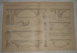 Plan De Ponts En Maçonnerie Avec Arches à Grandes Ouvertures. Pont De Lavaur. Pont Antoinette. 1887. - Public Works