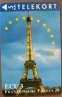DENMARK - TDTP074a-b, Ecu Series - France, Eiffel, Monuments, Towers, 5Kr, 3000ex, 9/94/ED31-12-95, Mint - Denmark