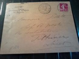 N)°191  30 C SEMEUSE ROSE  1925 Sur Lettre Entete Gouverneur De L'algérie Départ JANVILLE - Storia Postale