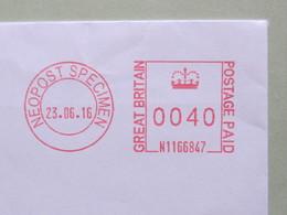 Gran Bretagna, Specimen Neopost 1166847, EMA, Meter, United Kingdom, - Affrancature Meccaniche Rosse (EMA)