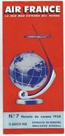 1958  15 Août AIR FRANCE Lignes France Espagne 6 Pages Format 1/3 De A4 - Horaires