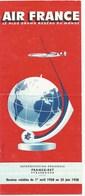 1958  1 Avril Au 25 Juin AIR FRANCE Lignes Au Départ De Strasbourg 8 Pages Format 1/3 De A4 - Timetables