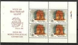 INDIA, 1987, India-1989 World Philatelic Exhibition,  India Gate Sheetlet,  MNH, (**) - Esposizioni Filateliche