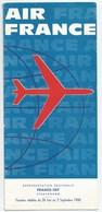 1960 26 Juin Au 03 Septembre  AIR FRANCE Lignes Au Départ De Strasbourg 10  Pages Format 1/3 De A4 - Timetables