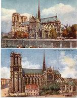 PARIS  - 2 CPA - Notre Dame, L' Abside - Notre Dame, Façade Sud  .. (108247) - Paintings