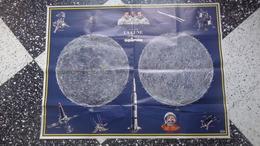 Affiche Poster De La Lune Sous Forme De Carte Offerte Par Le Journal Spirou. Très Bon état. - Affiches