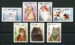 KAMPUCHEA 1988 N° 792/798 ** Neufs MNH Superbes C 7.75 € Faune Chats De Races Cats Juvalux Exposition Luxembourg Animaux - Kampuchea