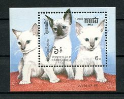 KAMPUCHEA 1988 Bloc N° 65 ** Neuf MNH Superbe C 7.75 € Faune Chats De Races Cats Juvalux Exposition Luxembourg Animaux - Kampuchea